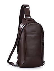 SAMMONS Men Real Genuine Cowhide Leather Purse Sling Pack Messenger Cross Body Chest Bag Flaps-Brown