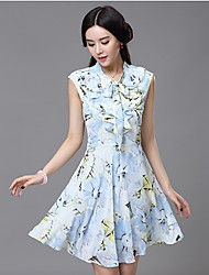 Women's Vintage Print Sheath Dress,Asymmetrical Knee-length Polyester