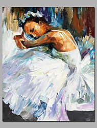 White Color  Ballerina Girl Rest Moment Acrylic Painting Canvas Art Framed With Stretcher 2 size For Bedroom Wall Art