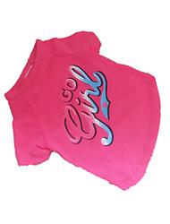 Cães Camiseta Rosa Roupas para Cães Verão Carta e Número Da Moda