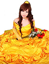 Cosplay Costumes / Party Costume Beauty/Beast Fairytale Princess Belle Yellow Satin Evening Gown Dress Women's Halloween Costume