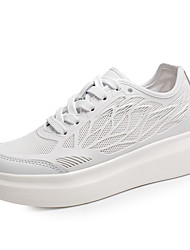 Scarpe Donna-Sneakers alla moda-Tempo libero / Formale / Casual-Creepers / Punta arrotondata-Basso-Tulle-Nero / Bianco