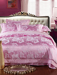 Pink Luxury Silk Cotton Blend Duvet Cover Sets Queen King Size Bedding Set