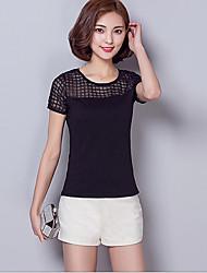Ronde hals-Rayon-Netstof-Vrouwen-T-shirt-Korte mouw