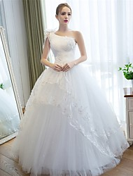 Ball Gown One Shoulder Floor Length Satin Tulle Wedding Dress with Appliques Lace Flower by JUEXIU Bridal