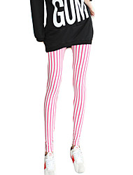 Women Comfortable Striped Legging,Polyester / Modal Thin Slim Ankle-length pants