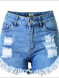 Shaperdiva Women's Blue High Waist Retro Ripped Hole Denim Shorts Jeans