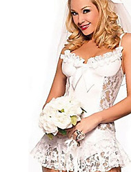 Woman's Sexy Underwear White Lace Bridal Gown With Hanging Socks Buckle Perspective Sexy Pajamas