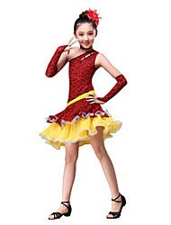 Danse latine Tenue Enfant Spectacle Coton Polyester Ruché Léopard 4 Pièces Robe Gants Tour de Cou