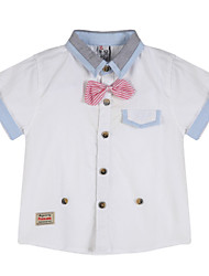Katoen-Zomer-Boy's-Overhemd-Geruit
