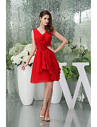 Short / Mini Chiffon Bridesmaid Dress A-line V-neck with Draping / Flower(s)