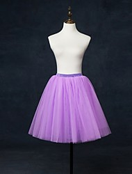 Slips Ball Gown Slip Knee-Length 2 Tulle Netting White Black Red Blue Purple Gray