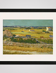 Framed Canvas Print Art  Harvest at La Crau by Van Gogh  40x50cm for Wall Decoration Ready To Hang