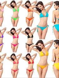 Bikinis / Dos Piezas(Amarillo / Blanco / Verde / Rojo / Rosa / Negro / Azul / Morado / Melocotón) -Transpirable / Secado rápido /