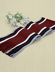 Men's Winter Fringed Scarves Thick Black Mixed Colors Striped Scarf