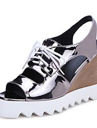 Women's Shoes Wedge Heel Wedges / Peep Toe Sandals Party & Evening / Dress / Casual Black / Pink / Silver