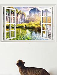 3D Wall Stickers Wall Decals, False Window Beautiful Pastoral Landscape PVC Wall Sticker