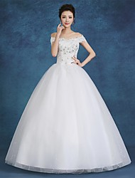Ball Gown Wedding Dress-White Floor-length Off-the-shoulder Satin / Tulle