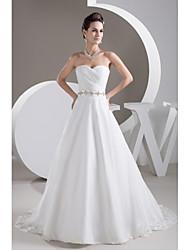 A-line Wedding Dress-Court Train Sweetheart Organza / Satin