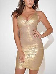 Women Luxury Gilding V Neck Women Spaghetti Strap Dress Fashion Mini Bodycon Sexy Women Bandage Dress