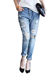 Women's Solid BL Style Fashion Classic Loose Hin Thin Cut Out Jeans Pants,Vintage / Street chic