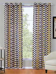 Two Panels Modern Plaid/Check Multi-color Living Room Polyester Panel Curtains Drapes 52inch Per Panel