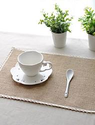 Carré Solide Sets de table , Lin Matériel Tableau Dceoration 6PC/SET