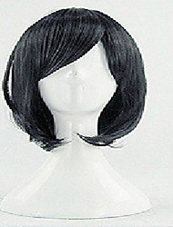 Stylish Black Cosplay Wig Middle Long Straight Oblique Bangs Synthetic Hair Wigs Animated Party Wigs