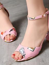 Women's Shoes Chunky Heel Heels/Open Toe Sandals Office & Career/Dress Black/Blue/Pink/White