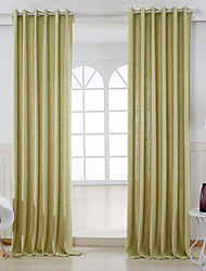 Two Panels Modern Solid Apricot Living Room Linen/Polyester Blend Panel Curtains Drapes
