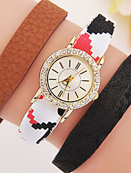 Women's Fashionable Leisure Diamond Bracelet Watch Leather Band Cool Watches Unique Watches