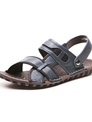 Men's Summer Comfort Leather Casual Flat Heel Blue