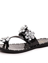 Women's Shoes PU Flat Heel Slippers Sandals / Slippers Outdoor / Dress / Casual Black / Silver