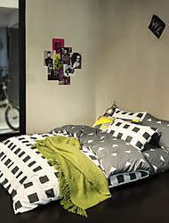 White and gray print Duvet Cover Sets 100% Cotton Bedding Set Queen/Double/Full Size