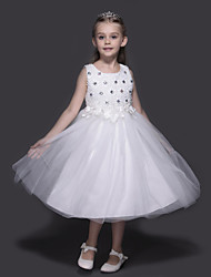 A-line Knee-length Flower Girl Dress - Organza / Stretch Satin Sleeveless Jewel with