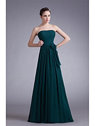 Formal Evening Dress - Elegant A-line Strapless Floor-length Chiffon with Bow(s) Draping