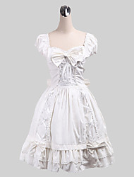 One-Piece/Dress Sweet Lolita Lolita Cosplay Lolita Dress Solid Sleeveless Medium Length Dress For Cotton