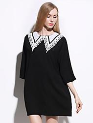 Women's Plus Size / Beach Street chic Shift Dress,Patchwork Round Neck Above Knee ¾ Sleeve Black Spandex Summer
