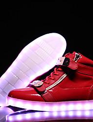 MasculinoLight Up Shoes Conforto Botas da Moda-Rasteiro-Preto Branco-Couro Envernizado-Ar-Livre Escritório & Trabalho Casual Para Esporte