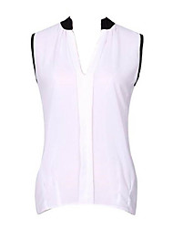 Women's Color Block Blue / Pink / White / Black / Green Blouse,V Neck Sleeveless