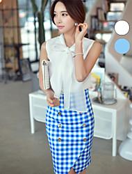 DABUWAWA® Damen Rundhalsausschnitt Ärmellos Shirt & Bluse Weiß / Hellblau-D15BST066