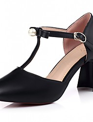 Women's Shoes Leatherette Chunky Heel Heels Heels Wedding / Office & Career / Party & Evening Black / Pink / Almond