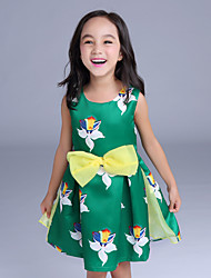 Girl's Casual/Daily Floral Dress,Cotton / Polyester All Seasons Green