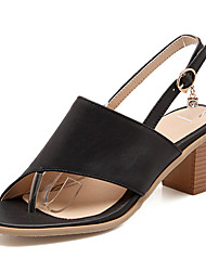 Women's Shoes  Chunky Heel Toe Ring / Open Toe Sandals Party & Evening / Dress / Casual Black / Pink / White