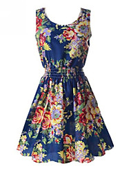 ZAY Women's Elegant Printing Sleeveless Waisted  Dress