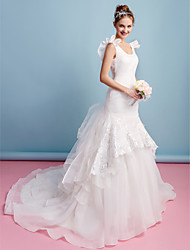 LAN TING BRIDE Fit & Flare Wedding Dress Vintage Inspired Chapel Train Scoop Organza with Lace Ruffle