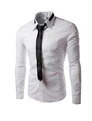 Men's Long Sleeve Shirt,Cotton Casual / Work / Formal Solid
