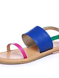 Women's Shoes Calf Hair Flat Heel Peep Toe / Gladiator Sandals Outdoor / Dress / Casual Blue