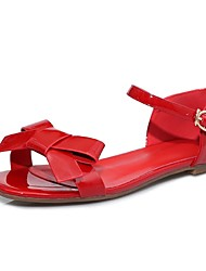 Women's Shoes Leather Low Heel Peep Toe / Ankle Strap Sandals Party & Evening / Dress / Casual Red