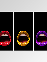 VISUAL STAR®Framed Modern Wall Art for Home Decoration Trio of Lips Giclee Print on Canvas Ready to Hang